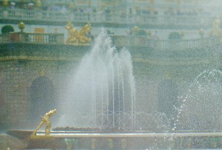 peterhof: Grand cascade .Peterhof Palace.  Saint-Petersburg, Russia- JUNE 3, 2015