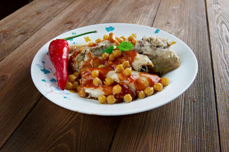 algerian: chtitha poulet - Chicken stew with chickpeas and sauce. Algerian cuisine Stock Photo