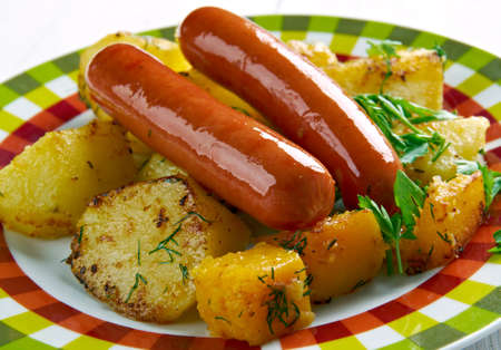 creamed: Isterband - lightly smoked sausage from Sweden. served  creamed dill potatoes Stock Photo