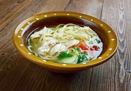 uzbek: ugra-osh -Uzbek chicken noodles soup