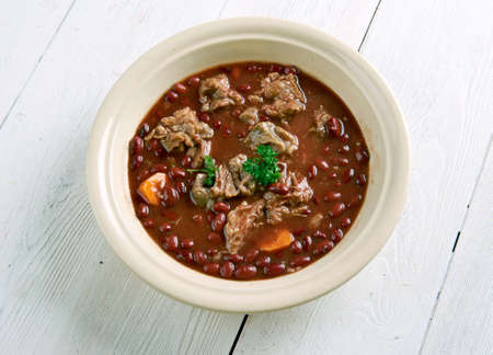 edwardian: Brown Windsor soup -  hearty British meat soup. popular during the Victorian and Edwardian eras.