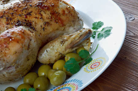 Poulet Garni  - roasted chicken with herbs. French cuisine