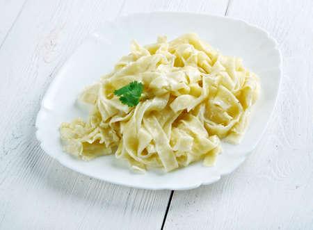alfredo: pasta Fettuccine Alfredo with cream. close up Stock Photo