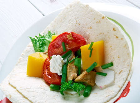 food dish: Mexican food dish Chipotle Squash Tacos Stock Photo