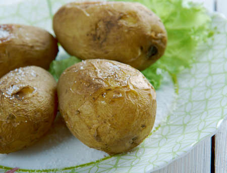 canarian: Canarian wrinkly potatoes. traditional baked potato dish eaten in the Canary Islands. Stock Photo
