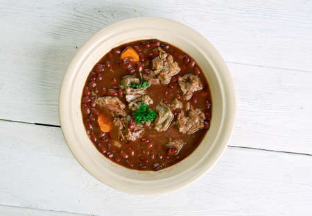 Brown Windsor soup -  hearty British meat soup. popular during the Victorian and Edwardian eras.