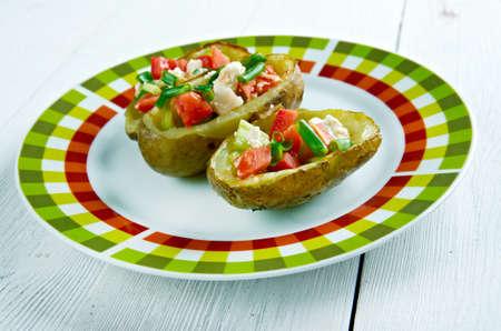 southwestern: Southwestern Loaded Potato Skin Nachos.American kitchen Stock Photo