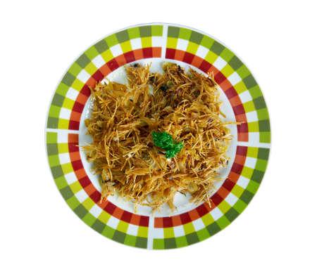 uzbek: pilaf noodles. Uzbek cuisine Stock Photo