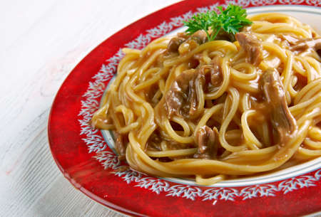 pheasant: Greek Pheasant Pasta. close up