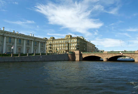 peterburg: Near the Fontanka river with View of ancient buildings in Saint-Petersburg, Russia