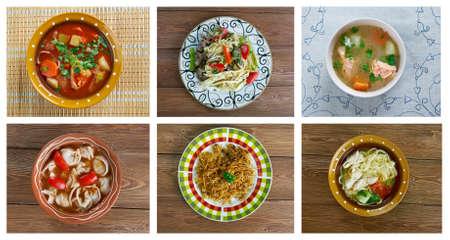 uzbek: Food set oriental uzbek cuisine.collage Stock Photo