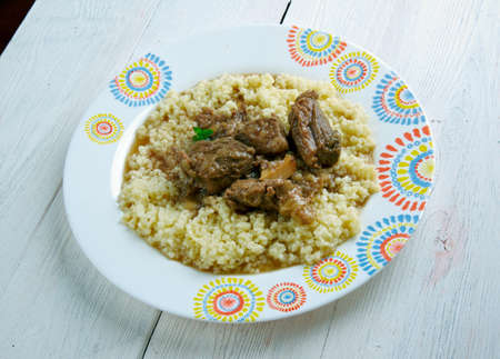 libyan: Kusksu - Libyan Couscous with Spicy Beef and Vegetables.Lebanese cuisine
