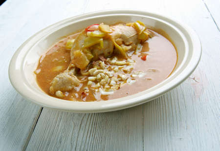 est: Groundnut Soup -  West Africa Spicy Chicken Peanut Soup .  popular Ghanaian soup Stock Photo