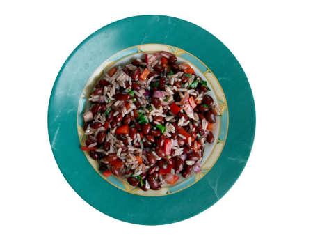 caribe: Arroz con Frijoles Negro -  black beans and rice. Panamá, Puerto Rico, Cuba y la Costa Caribe colombiana Stock Photo