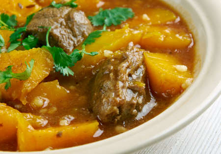 french cuisine: Beef and Butternut Squash Stew,French cuisine Stock Photo