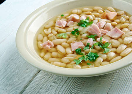 Senate bean soup - soup made with navy beans, ham hocks, and onion.served in the dining room of the United States Senate