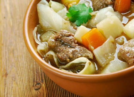 traditionally french: Garbure -  thick French soup .French cuisine Stock Photo