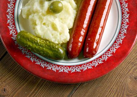 mash: classic English meal of bangers and mash . Stock Photo