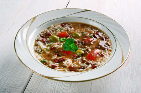 sopa: Asopao de Gandules - rice soup. It is made with either chicken, pork, beef, seafood or vegetables