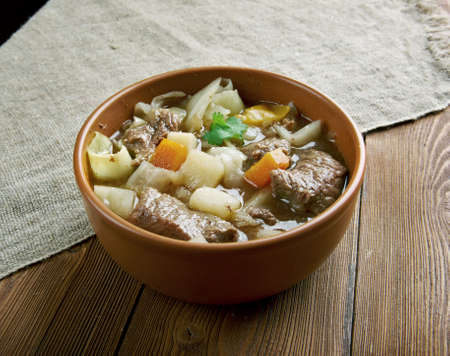 french cuisine: Garbure -  thick French soup .French cuisine Stock Photo