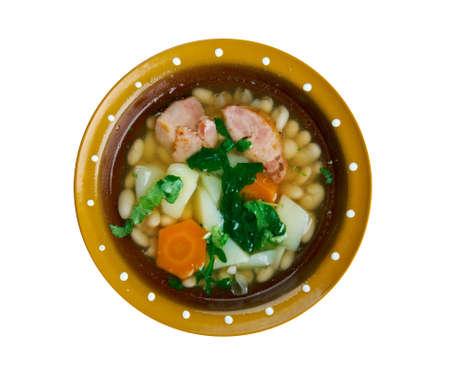 galician: Cuban Caldo Gallego - Galician White Bean Soup. Stock Photo