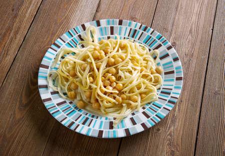 italian cuisine: Ciceri e Tria pasta dish and chickpeas in Italian cuisine