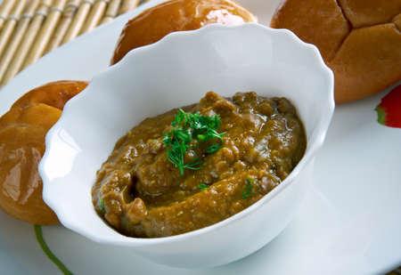 rajasthani: Dal Baati Churma - Rajasthani cuisine.Indian lentil dish. Stock Photo