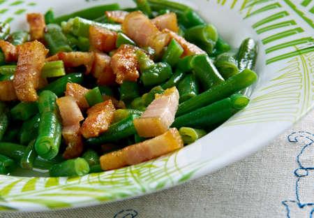 speck: Schinkenspeck -Green Beans with Speck. German kitchen.