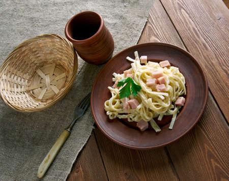 fettuccine: Fettuccine alla papalina - pasta with prosciutto,parmesan,butter