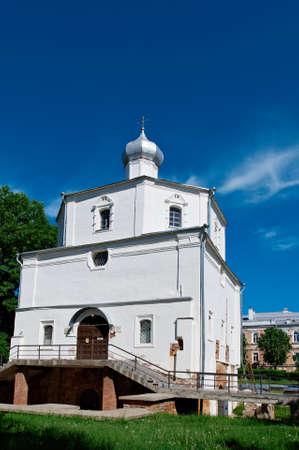 veliky: churches in Yaroslavs Court, Veliky Novgorod, Russia Stock Photo