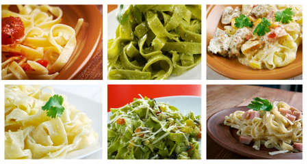 fettuccine: Food set of different   Fettuccine  pasta. collage Stock Photo