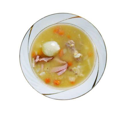 aux: Soupe aux pois  - Pea soup traditional dish in Canadian cuisine Stock Photo