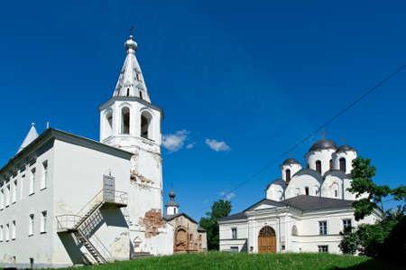 novgorod: churches in Yaroslavs Court, Veliky Novgorod, Russia Stock Photo