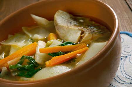 sturgeon: Russian  cabbage soup Don stchi with sturgeon Stock Photo