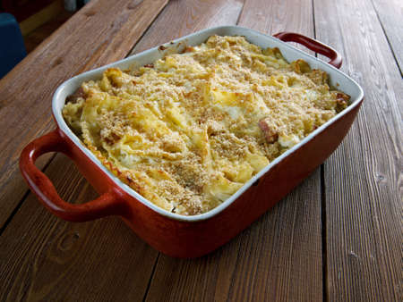 ukranian: Baked Lokshyna - Ukranian Pasta Bake.cooked egg noodles and  bacon,cottage cheese,half .