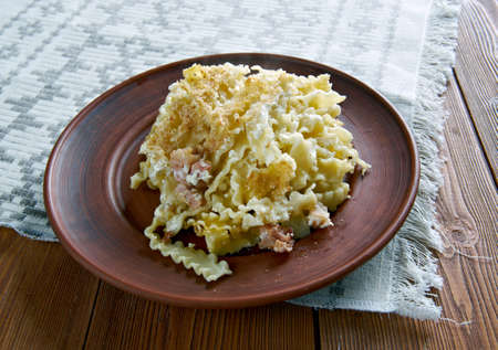 egg noodles: Baked Lokshyna - Ukranian Pasta Bake.cooked egg noodles and  bacon,cottage cheese,half .