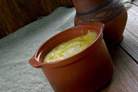 pap: Cornmeal Pap - African porridge soft polenta.In Botswana