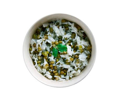 mung bean: Maash Pulao - mung bean with rice.Afghan Cuisine. Stock Photo