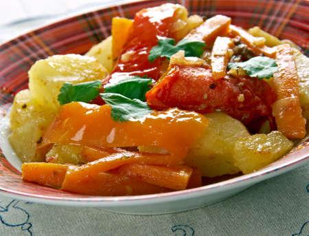 albanian: Albanian Vegetables .Turli Perimesh . Balkan dish Stock Photo