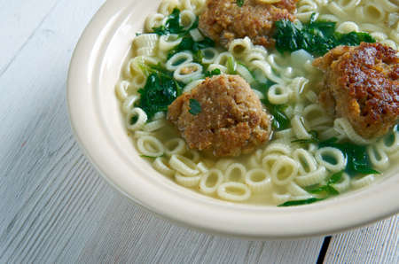 popular soup: Italian wedding soup .Italian-American soup consisting of green vegetables and meat.  popular in United States
