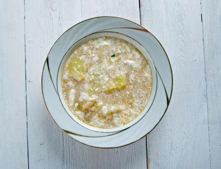 russet potato: Slovak Sour Bean Soup close up