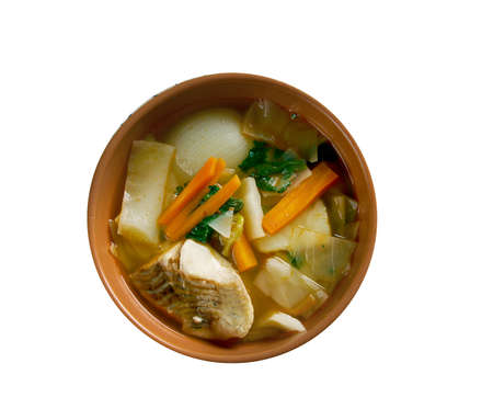 sturgeon: Russian  cabbage soup Don stchi with sturgeon Stock Photo