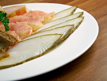 halibut: Seafood arrangement.salmon,halibut . close up