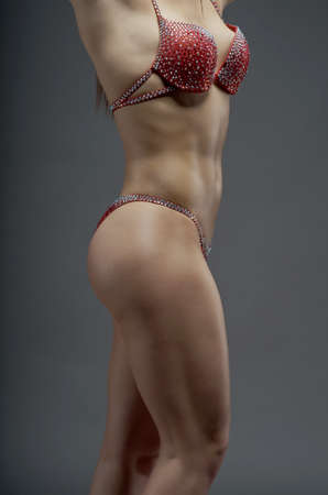 athletic body: Woman with perfect athletic body . fitness bikini Stock Photo