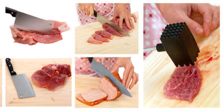 cutting meat: hands of housewife in the process . cutting  meat  .collage set Stock Photo