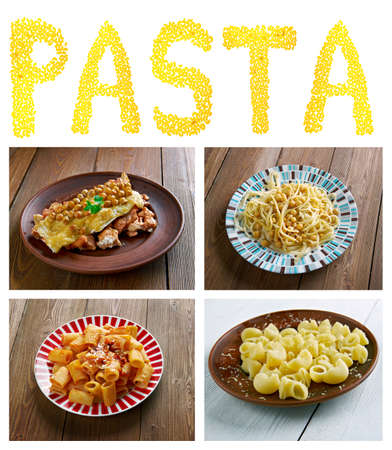 talian: Food set of different  pasta. collage