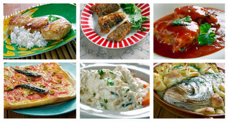 corcovado: Food set of different  seafoods fish dish . collage Foto de archivo