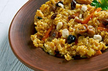 pakistani food: Zarda Pulao - popular South Asian sweet saffron rice