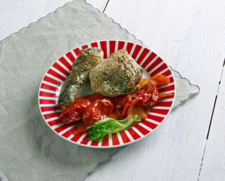 azerbaijani: Azerbaijani  Poached chicken with pickles and tomatoes - Toyuq soyutması