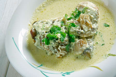 riesling: Coq au Riesling   - Chicken of Alsace cream sauce, wine and mushrooms
